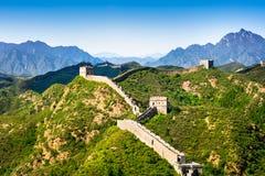 Grande muraglia della Cina nel giorno di estate, sezione di Jinshanling, Pechino Immagini Stock