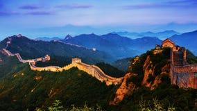 Grande muraglia jinshanling di alba Fotografia Stock