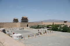 Grande Muraglia occidentale di Jia Yu Guan, strada di seta Cina Fotografia Stock Libera da Diritti