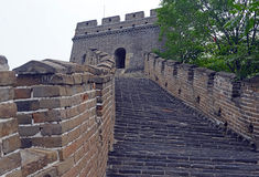 Grande Muraille de la Chine avec la pollution atmosphérique Image stock