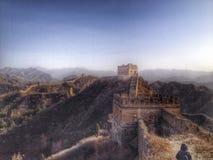 Grande Muraille de vue renversante de la Chine en hiver Image libre de droits