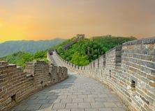 Grande Muraille pendant le coucher du soleil image libre de droits