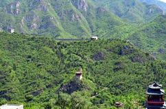 Grande Muralha de China e de montanhas Imagens de Stock