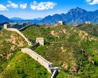 Grande Muralha de China no dia ensolarado do verão, Jinshanling, Pequim Foto de Stock Royalty Free