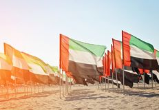 Grande número de bandeiras de Emiratos Árabes Unidos Fotografia de Stock
