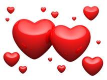 Grande número de corações vermelhos no fundo branco Ilustração Stock