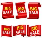 Grande nastro di vendita Insegne rosse di vendita Rotoli della carta dell'autoadesivo dei nastri 3d rosso ha dettagliato l'insegn Fotografia Stock Libera da Diritti