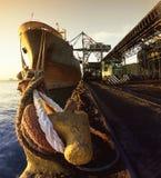 Grande nave che scarica Fotografie Stock Libere da Diritti