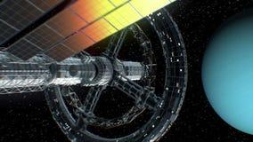 A grande nave espacial retorna do Urano do planeta video estoque