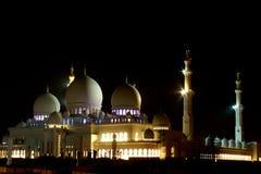 Grande notte della moschea dell'Abu Dhabi Zayed Fotografia Stock