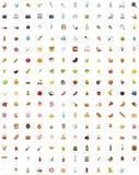 Grande nourriture, boissons et cuisson de l'ensemble d'icône Image libre de droits
