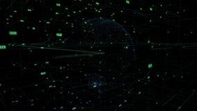 Grande nuvola di dati intorno all'estratto digitale 3D del globo di dati della terra che rende Internet di calcolo della connessi royalty illustrazione gratis