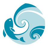 Grande onda dei pesci Fotografia Stock
