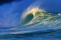Grande onda di oceano alla spiaggia della baia di Waimea Fotografia Stock