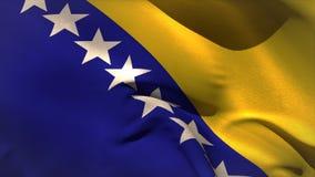 Grande ondeggiamento bosniaco della bandiera nazionale Fotografie Stock