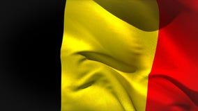 Grande ondeggiamento della bandiera nazionale del Belgio Fotografia Stock