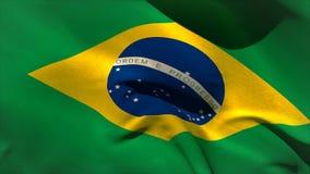 Grande ondeggiamento della bandiera nazionale del Brasile Immagine Stock