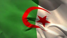Grande ondeggiamento della bandiera nazionale dell'Algeria Fotografie Stock Libere da Diritti