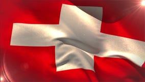 Grande ondeggiamento svizzero della bandiera nazionale Fotografia Stock Libera da Diritti