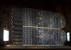 Grande orma del Buddha, di Buddha adagiantesi delle attrazioni turistiche di Wat Pho, del punto di riferimento e di no. 1 in Taila Fotografia Stock