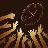Grande orologio di parete con la mano amica Fotografia Stock