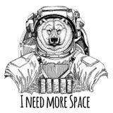 Grande orso polare, astronauta dell'orso bianco Tuta spaziale Immagine disegnata a mano del leone per il tatuaggio, maglietta, em Immagine Stock Libera da Diritti