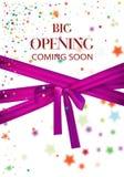 Grande ouverture venant bientôt illustration de vecteur avec les étoiles colorées et le long ruban rose Image libre de droits