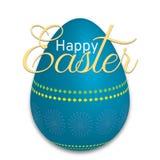 Grande ovo da páscoa azul com uma Páscoa feliz da frase Foto de Stock Royalty Free