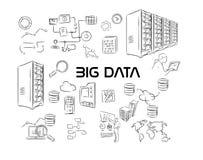 Grande pacchetto del disegno della mano dell'illustrazione di dati Fotografia Stock Libera da Diritti