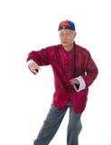 Padrone cinese di fu del kung dell'uomo anziano isolato su bianco Fotografia Stock