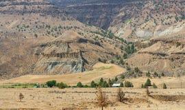 Grande paesaggio dalla strada a John Day Fossil Beds Fotografia Stock