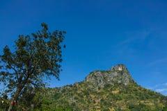 Grande paesaggio della montagna su chiaro cielo blu Fotografie Stock Libere da Diritti