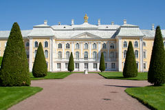 Grande palazzo di Peterhof, Petrodvorets Fotografia Stock