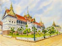 Grande palazzo reale, pittura dell'acquerello immagini stock