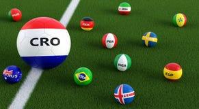 Grande pallone da calcio nei colori nazionali della Croazia circondato dai più piccoli palloni da calcio in altri colori nazional Immagini Stock