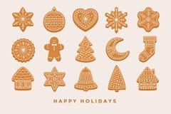 Grande pan di zenzero di Natale dell'insieme: case di pan di zenzero, mezzaluna, uomo di pan di zenzero, fiocchi di neve, calzino illustrazione di stock