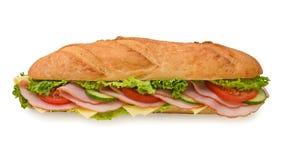 Grande panino di sottomarino supplementare con il prosciutto ed il formaggio Fotografia Stock Libera da Diritti