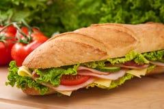 Grande panino fresco dello svizzero & del prosciutto Fotografia Stock
