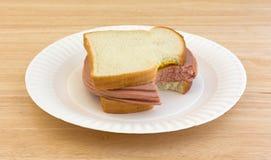 Grande panino pungente di Bologna sul piatto di carta Immagini Stock Libere da Diritti