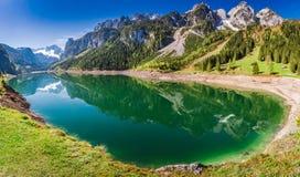 Grande panorama del lago Gosausee in Gosau, alpi, Austria Fotografia Stock