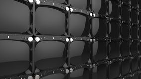 Grande parete degli schermi brillanti neri della TV illustrazione vettoriale