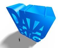 Grande parola blu enorme di dati 3D con il piccolo imprenditore Fotografia Stock Libera da Diritti