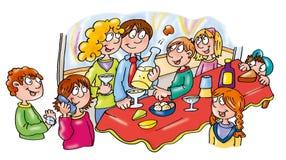 Grande partie de réveillon de la Saint Sylvestre avec des amis mangeant le boire et la célébration illustration libre de droits