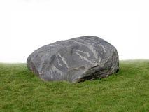 Grande pedregulho da rocha na grama. fotografia de stock royalty free