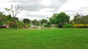 Grande pelouse dans le jardin avec l'étang et la fontaine Photographie stock libre de droits