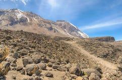 Grande Penck & pochi ghiacciai di Penck, Kibo, cittadino di Kilimanjaro Fotografie Stock Libere da Diritti