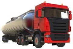 Grande petroleiro vermelho do caminhão com um reboque lustrado do metal Vistas de todos os lados ilustração 3D Fotos de Stock Royalty Free
