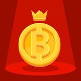Grande pièce de monnaie avec l'inscription B et la couronne illustration stock