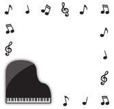 Grande piano con le note musicali Immagini Stock