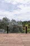 Grande piattaforma di legno vicino alla casa con il paesaggio della molla fotografia stock